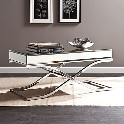 Southern Enterprises Ava Mirrored Cocktail Table, Chrome (CK4370)