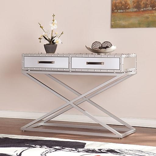Southern Enterprises Lazio Medium Density Fiberboard Console Table, Silver, Each (CK4813)