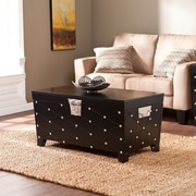 "Southern Enterprises Nailhead 18"" Cocktail Table Trunk, Black/Satin Silver (CK6124)"