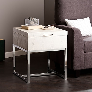 Southern Enterprises Vivienne Medium Density Fiberboard End Table, White, Each (CK9692)