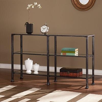 Southern Enterprises Metal/Glass Glass Console Table, Black, Each (CM8771)