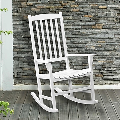 Southern Enterprises Hardwood Porch Rocker, White (CR7801)