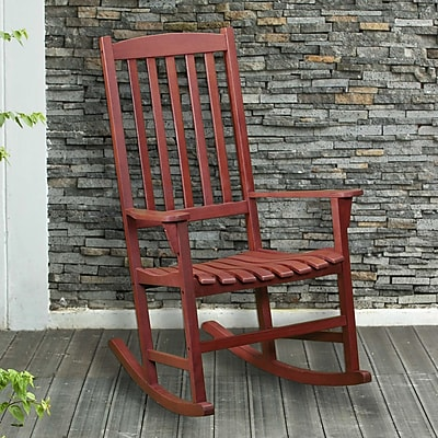 Southern Enterprises Hardwood Porch Rocker, Oiled (CR7802)