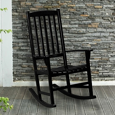 Southern Enterprises Hardwood Porch Rocker, Black (CR7804)