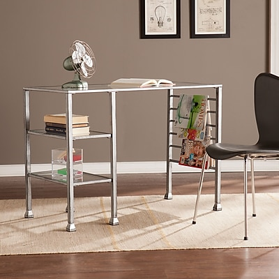 Southern Enterprises Metal/Glass Writing Desk, Distressed Silver (HO0776)