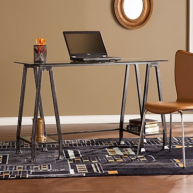 Southern Enterprises Metal/Glass A-Frame Desk, Distressed Black (HO8778)