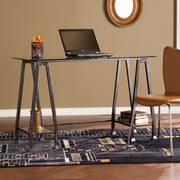 Southern Enterprises Metal/Glass A-Frame Desk, Distressed Black (HO8778)