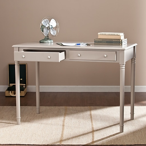 Southern Enterprises Janice 2-Drawer Writing Desk, Gray (HO8796)
