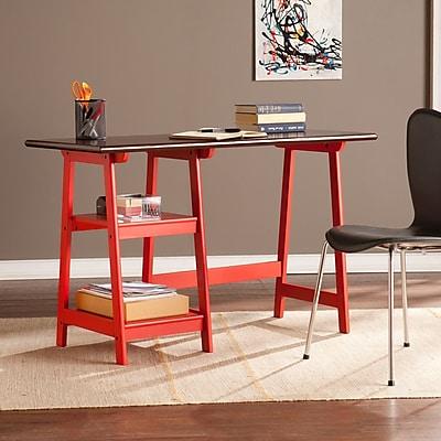 Southern Enterprises Langston Desk, Red/Espresso (HO9346)