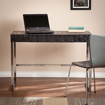 Southern Enterprises Vivienne Reptile Contemporary Desk, Black (HO9798)