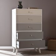 """Southern Enterprises Colorblock 52"""" 5-Drawer Anywhere Storage Cabinet, Grayscale (HZ1077)"""
