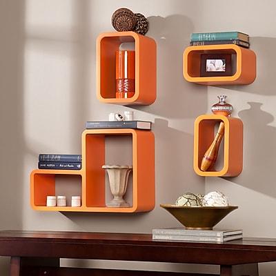 Southern Enterprises Tetran Shelf, Orange, 4 Pieces/Set (HZ3486)