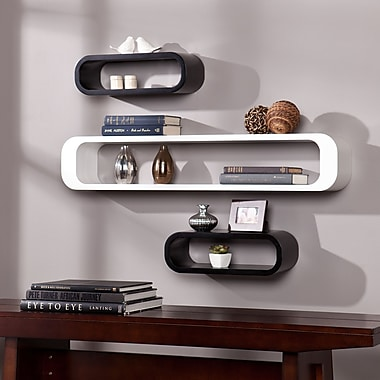 Southern Enterprises Delhi Shelf, White/Black, 3 Pieces/Set (HZ3489)