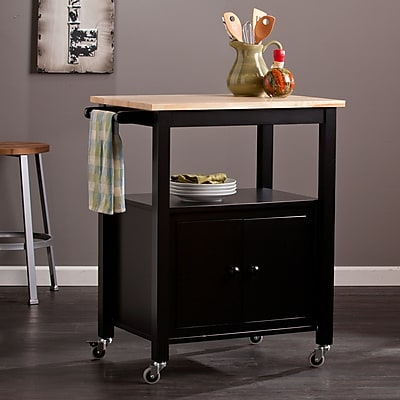 Boston Loft Furnishings Dunbar Industrial Style Kitchen: Southern Enterprises Kenner Kitchen Cart, Black (KA3276