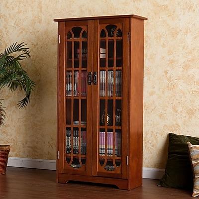 Southern Enterprises Window Pane Media Cabinet, Oak (MS1074T)