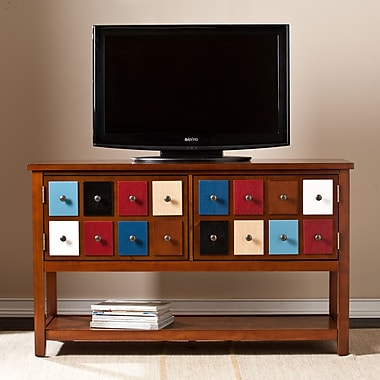 Southern Enterprises Apothecary Console/TV Stand, Multicolor with Brown Mahogany (MS9904)