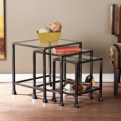 Southern Enterprises Metal/Glass Metal Sets Table, Black, Each (OC8774)