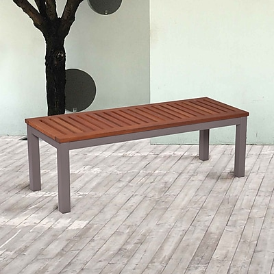 Southern Enterprises Mandalay Outdoor Backless Bench, Gray (OD2613)