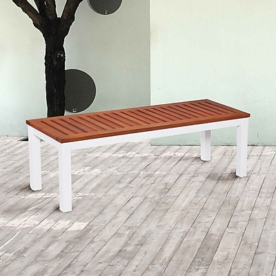 Southern Enterprises Mandalay Outdoor Backless Bench, Soft White (OD2713)