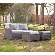 Southern Enterprises Avadi Outdoor 2.5-Seater Sofa and Ottoman, 3 Pieces/Set (OD5541)