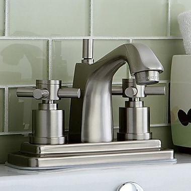 Kingston Brass Concord Double Handle Centerset Bathroom Faucet w/ Brass Pop-Up Drain; Satin Nickel