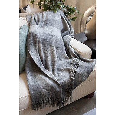 WovenWorkz Annette Faux Mohair Throw; Grey