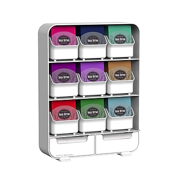 Mind Reader Baggy 9-Drawer Tea Bag And Accessory Holder, White (Tborg-Wht)
