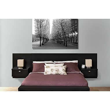 Prepac™ - Tête de lit flottante Series 9 Designer pour grand lit, avec tables de nuit, noir