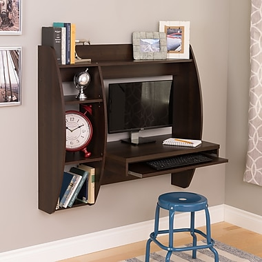 Prepac™ Floating Desk with Storage and Keyboard Tray, Espresso
