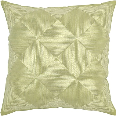 Rizzy Home Decorative Accent Pillow Embroidered Details; Light Green