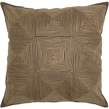 Rizzy Home Decorative Accent Pillow Embroidered Details; Brown