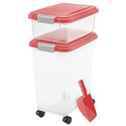 Zoey Tails 3 Piece Airtight Pet Food Container; Garnet Red