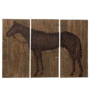 CBK Large Horse 3 Piece Painting Print Plaque Set (Set of 3)