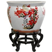 Oriental Furniture Cherry Blossom Vase; 16.5'' H x 20.5'' W x 20.5'' D