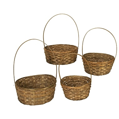WaldImports 4 Piece Dark Stained Bamboo Basket Set