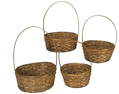 WaldImports 4 Piece Dark Stained Bamboo Basket Set