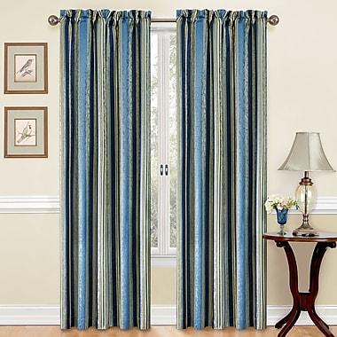 Traditions by Waverly Stripe Room Darkening Rod Pocket Single Curtain Panel; Porcelain