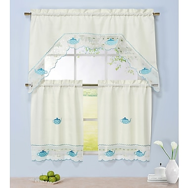 Window Elements Tea Time 3 Piece Embroidered Kitchen Valance and Tier Set