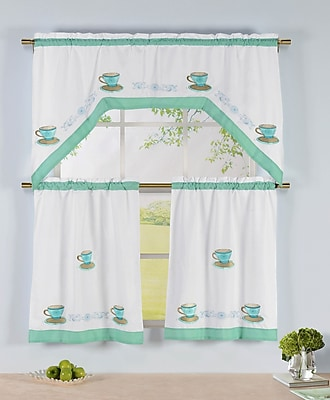 Window Elements Tea Party 3 Piece Embroidered