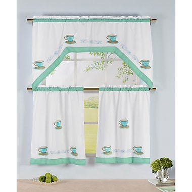 Window Elements Tea Party 3 Piece Embroidered Kitchen Valance and Tier Set
