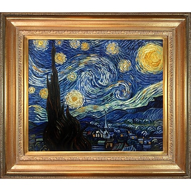 La Pastiche 'Starry Night' by Vincent Van Gogh Framed Painting Print on Wrapped Canvas