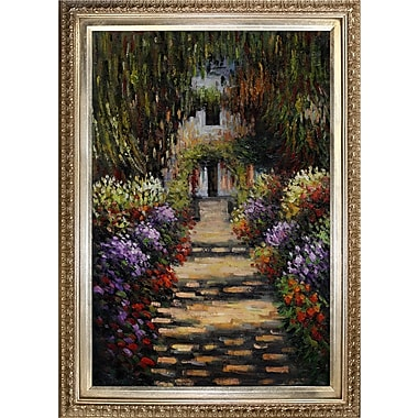 Tori Home Monet Garden Path at Giverny by Claude Monet Framed Painting Print