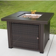 Pleasant Hearth Rio Wicker Propane Gas Fire Pit Table