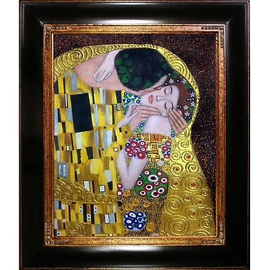 La Pastiche 'The Kiss' by Gustav Klimt Framed Painting Print on Wrapped Canvas