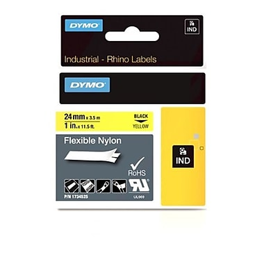 "Dymo Rhino Industrial Flex Nylon Adhesive Labels - Black Print on Yellow 1"" x 11.5 Feet"