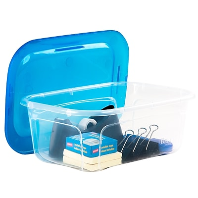 Bella Storage Solution® 6 QT Storage Tote, Clear with Blue Lid