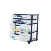 Bella Storage Solution® Wide Locking Desktop Plastic Storage Drawer Cart, 4 Drawer