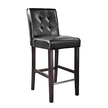 CorLiving™ DAD-403-B Antonio Bar Height Barstool, Black Bonded Leather