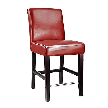 CorLiving™ DAD-554-B Antonio Counter Height Barstool, Red Bonded Leather