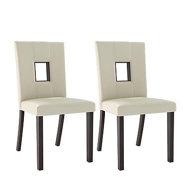 CorLiving™ DIP-411-C Bistro White Leatherette Dining Chairs, Set of 2